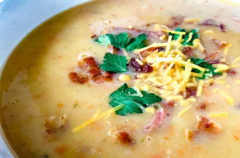 close up of creamy plantation potato and ham soup