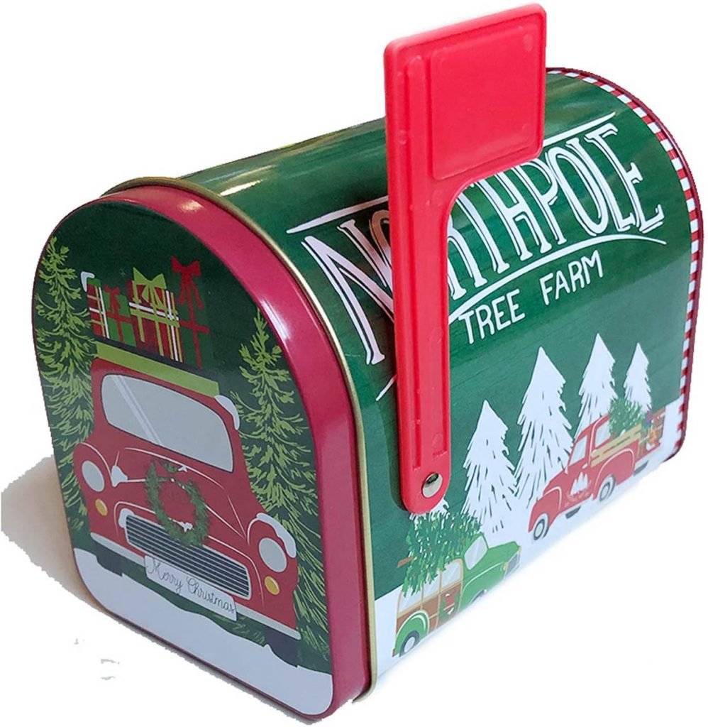 A close up of a cookie tin shaped like a mailbox