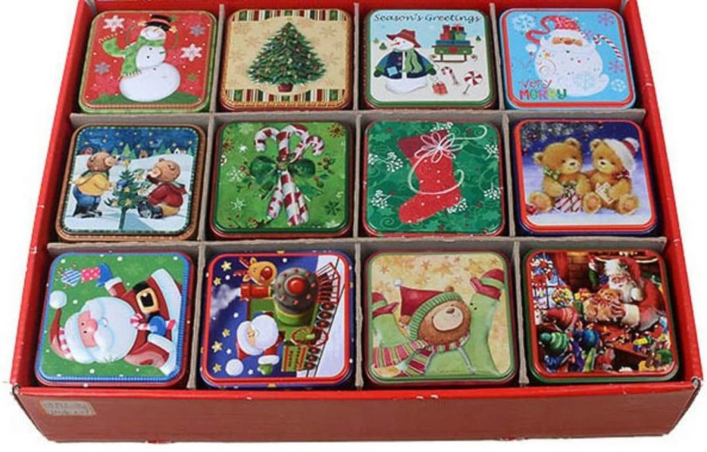 set of 12 cookie tins in a storage unit