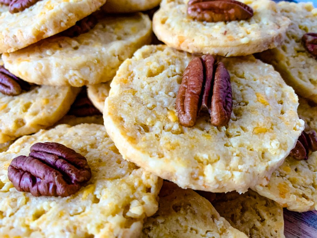 close up of Southern Pecan Cheddar Wafers