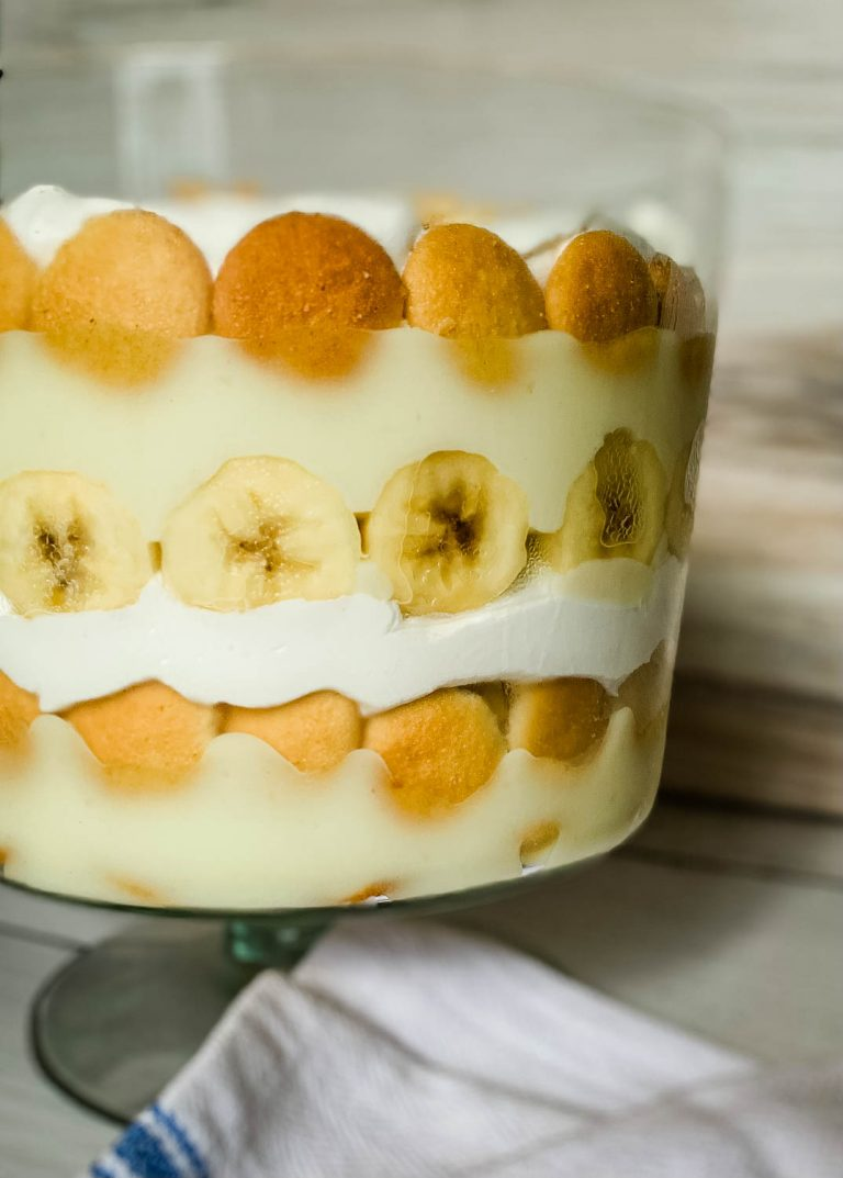 close up image of a bowl of Easy Layered Nilla Wafer Banana Pudding Trifle