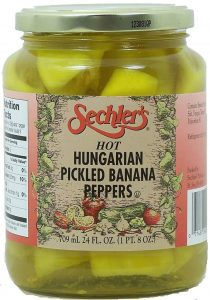 jar of hot pickled banana peppers