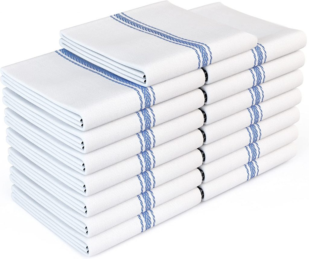 white cotton kitchen towels with blue stripes