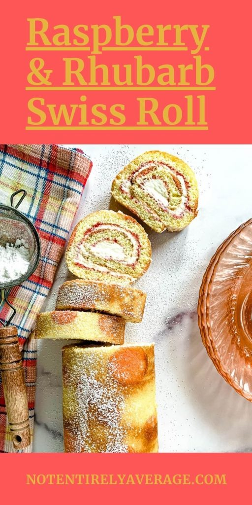 Pinterest pin image for Raspberry Rhubarb Swiss Roll