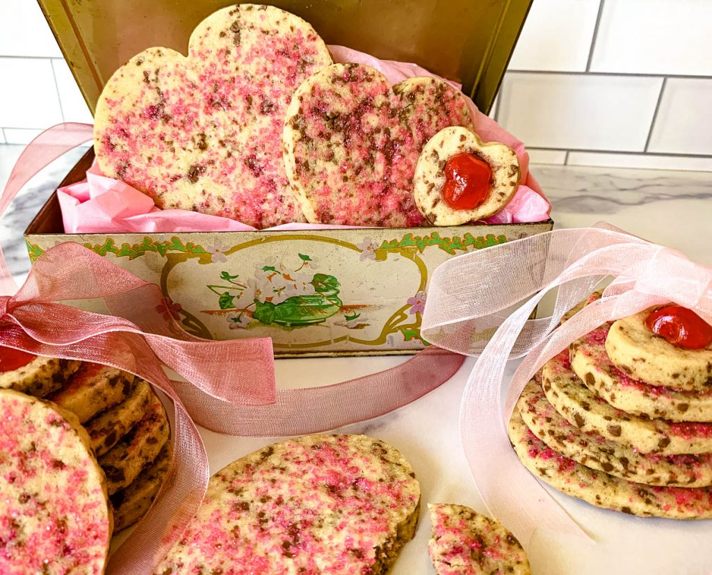 cookies shaped hearts pink