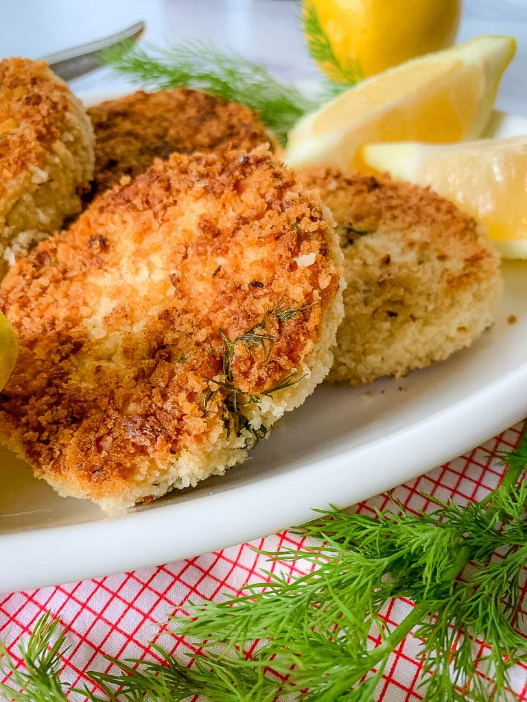 A close up of Cackalacky Chicken Cakes, with Lemon and Dill