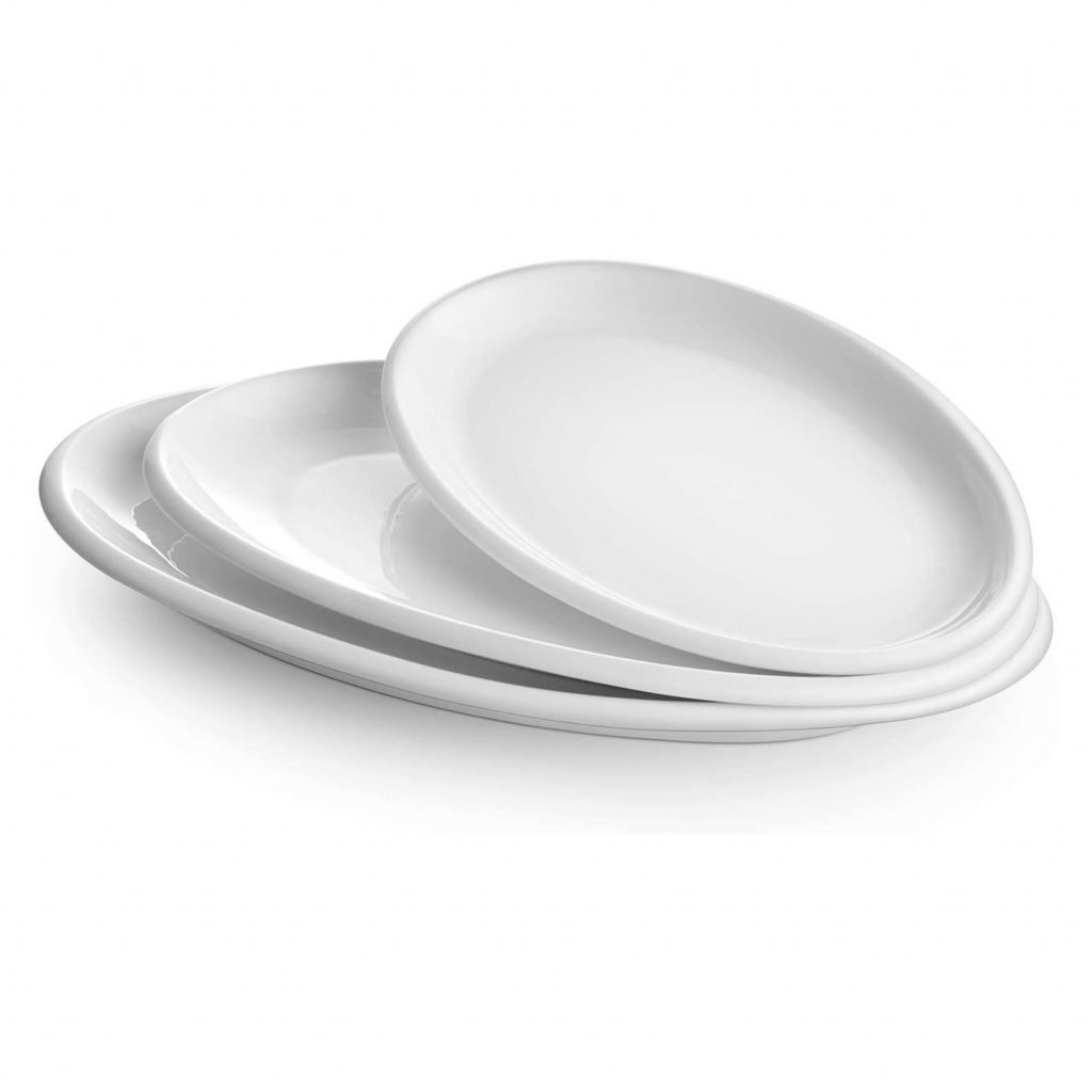 3 white oval platters