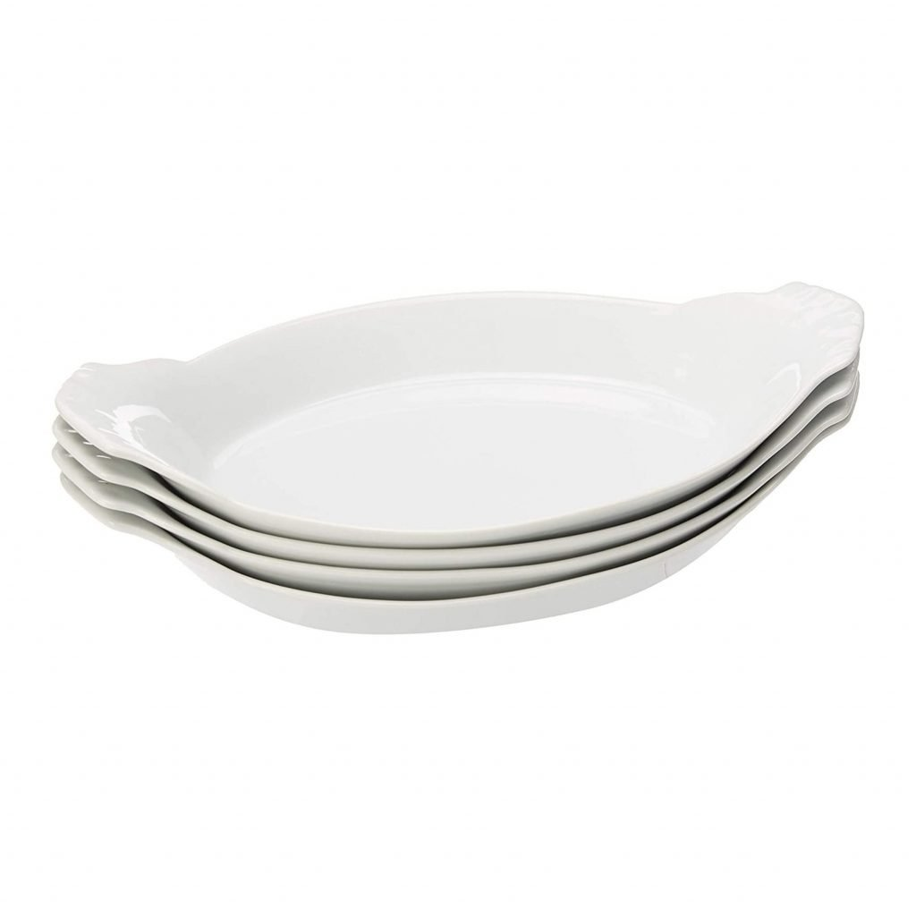 4 white oval bowls