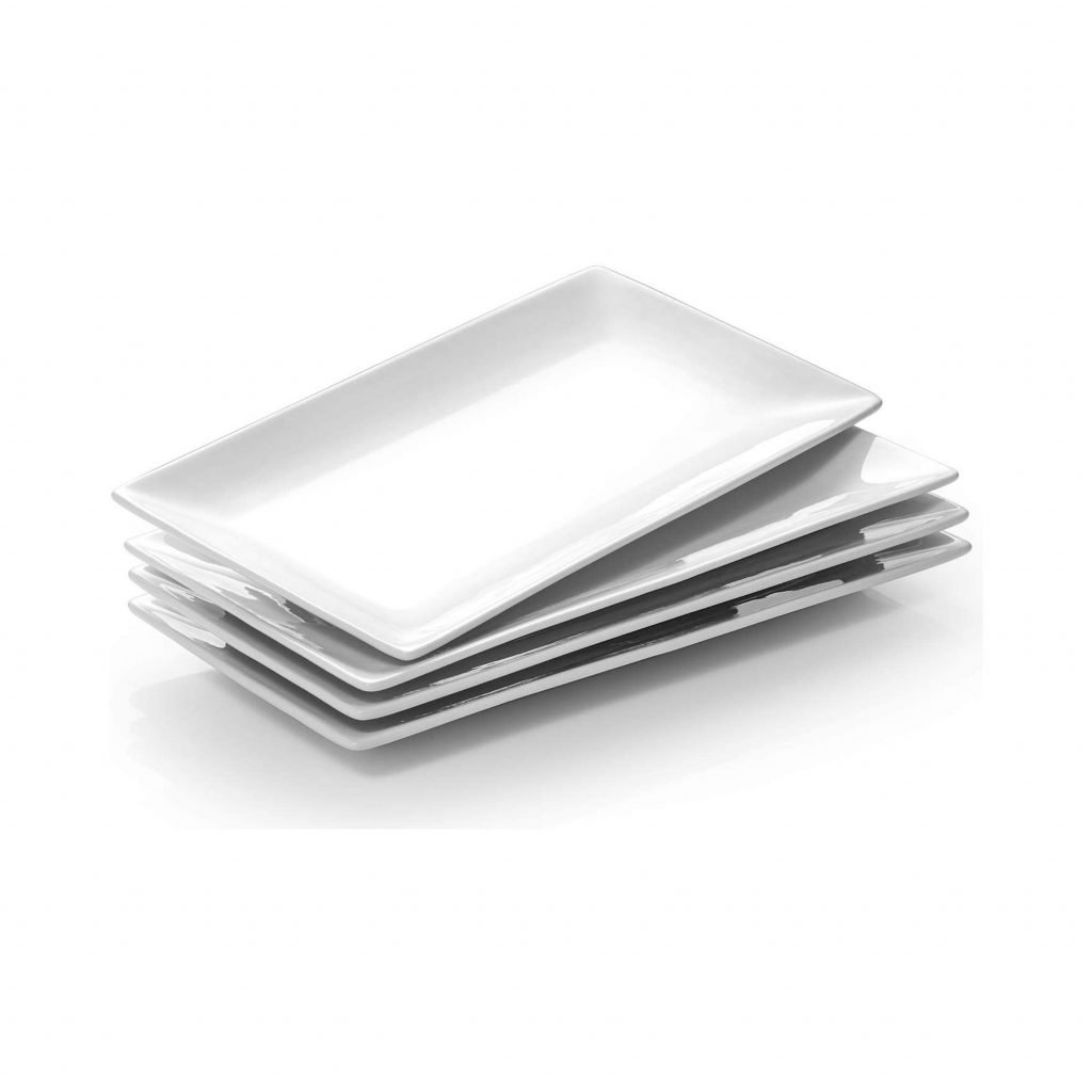 4 white rectangle platters