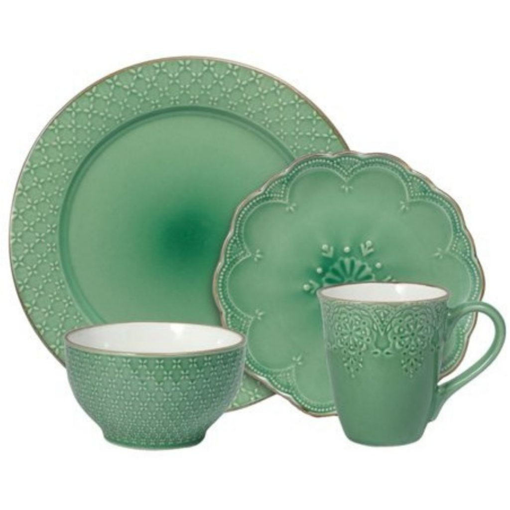 set green dinnerware