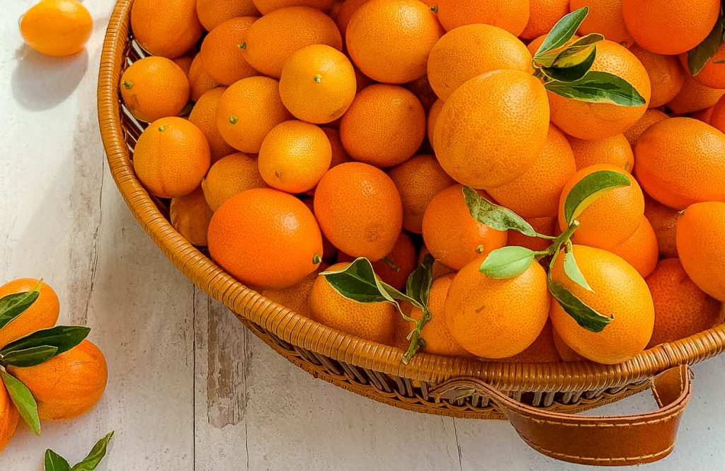 A basket of fruit, with Kumquat and Marmalade