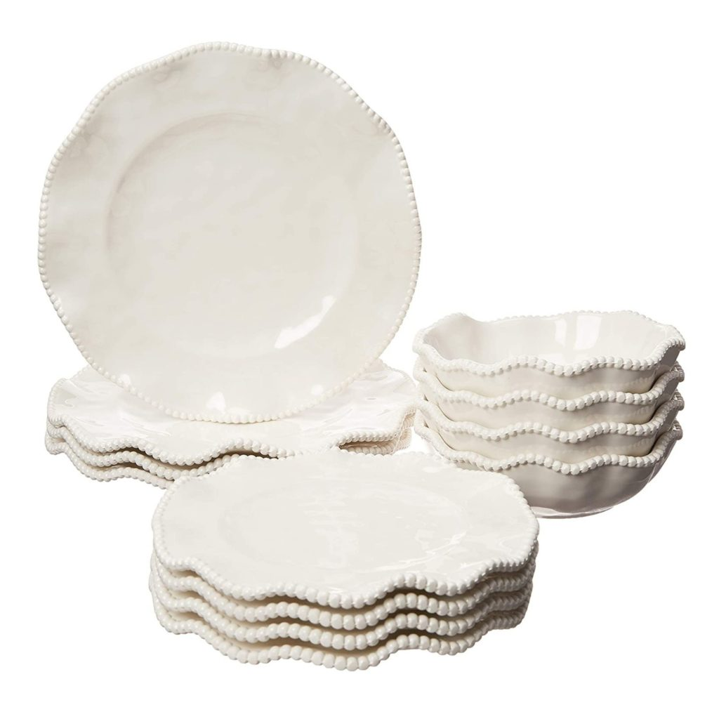 plastic white bowls and plates