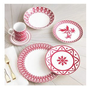 pink bowls and plates