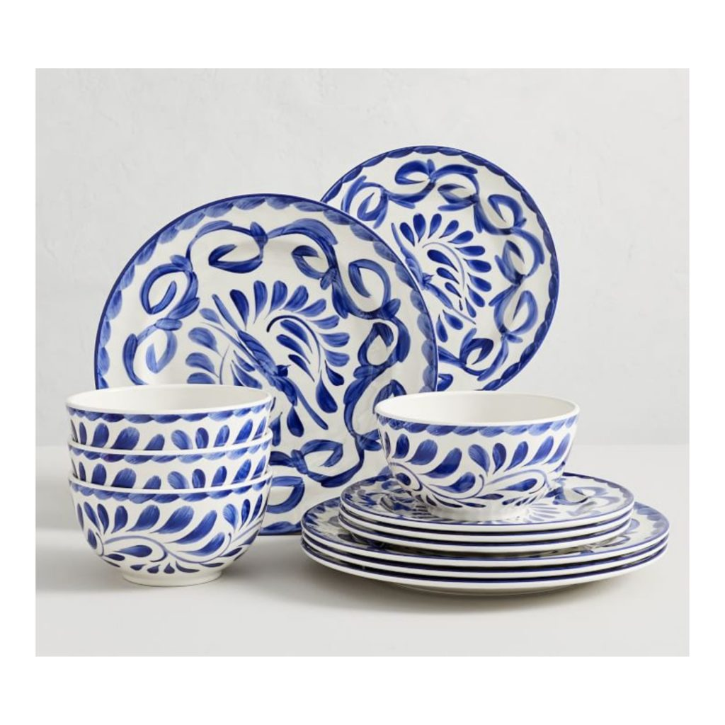 plastic blue and white bowls and plates
