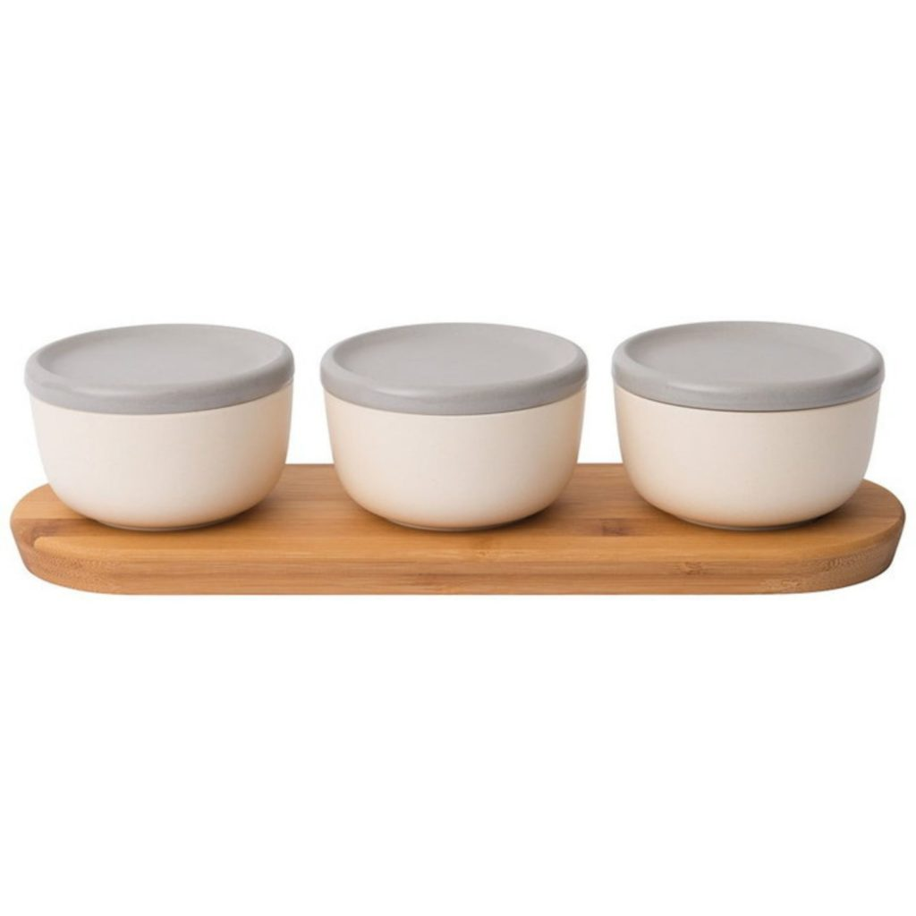 3 bowls on a wood tray with lids