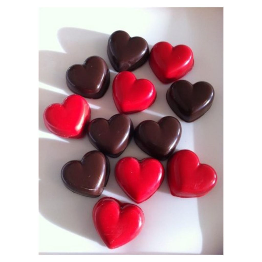 heart shaped candy coated Oreo cookies