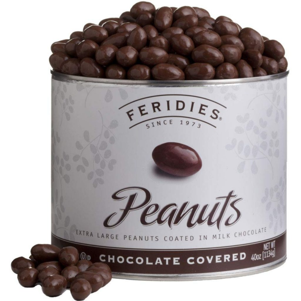 tin of chocolate covered peanuts