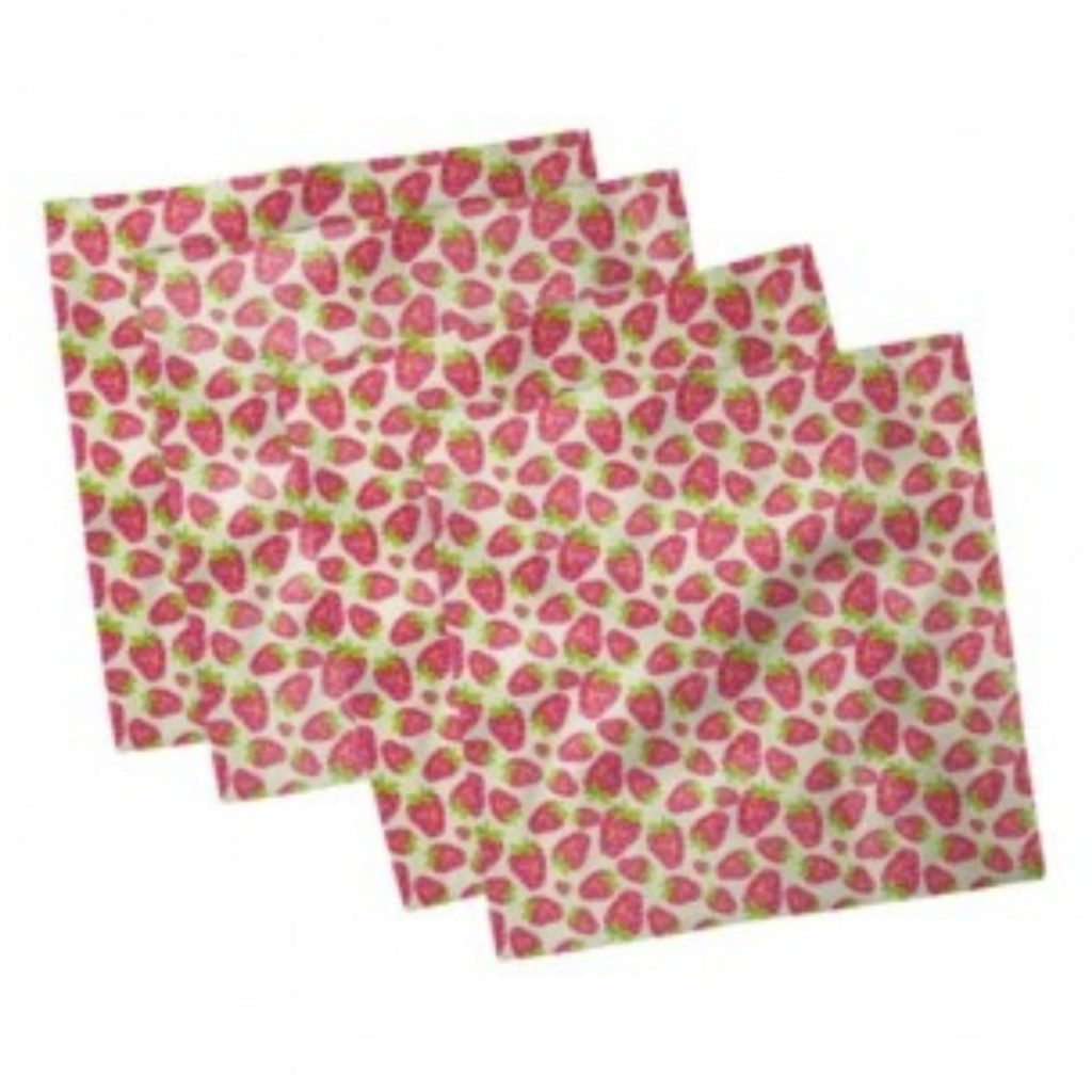 napkins with strawberry print