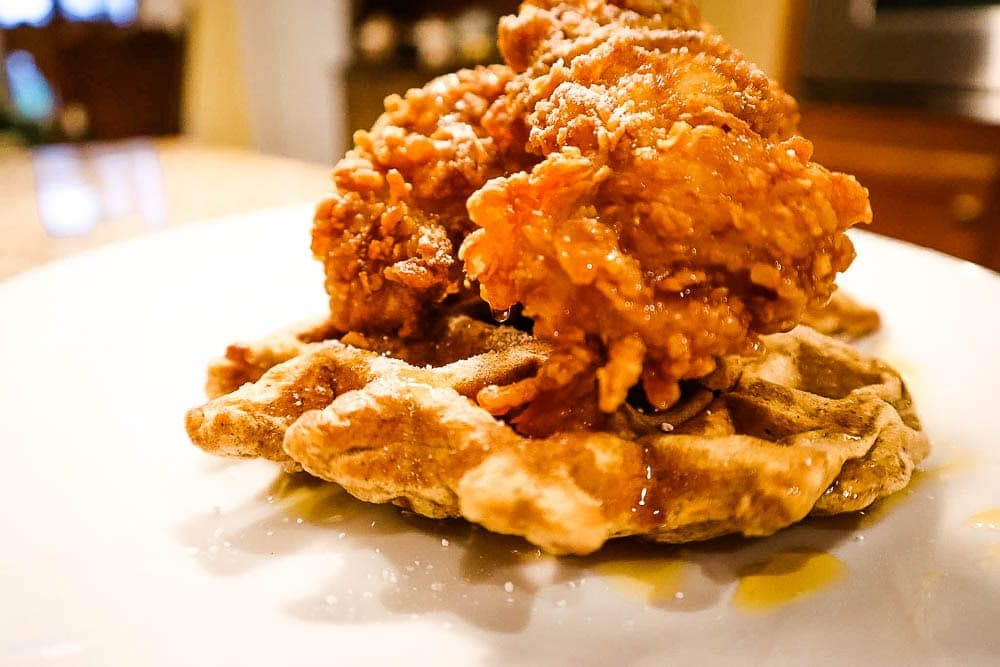 close up of a waffle, with chicken