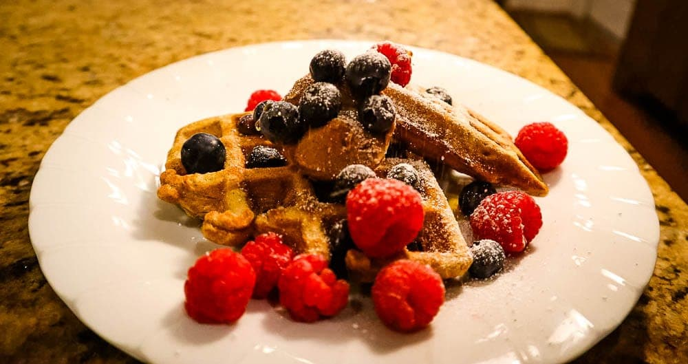 waffles, with fruit