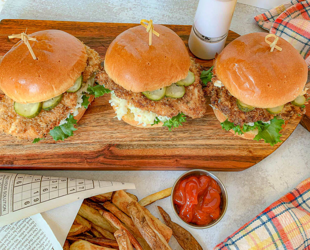 Overhead photo of Baked Chicken Sandwiches