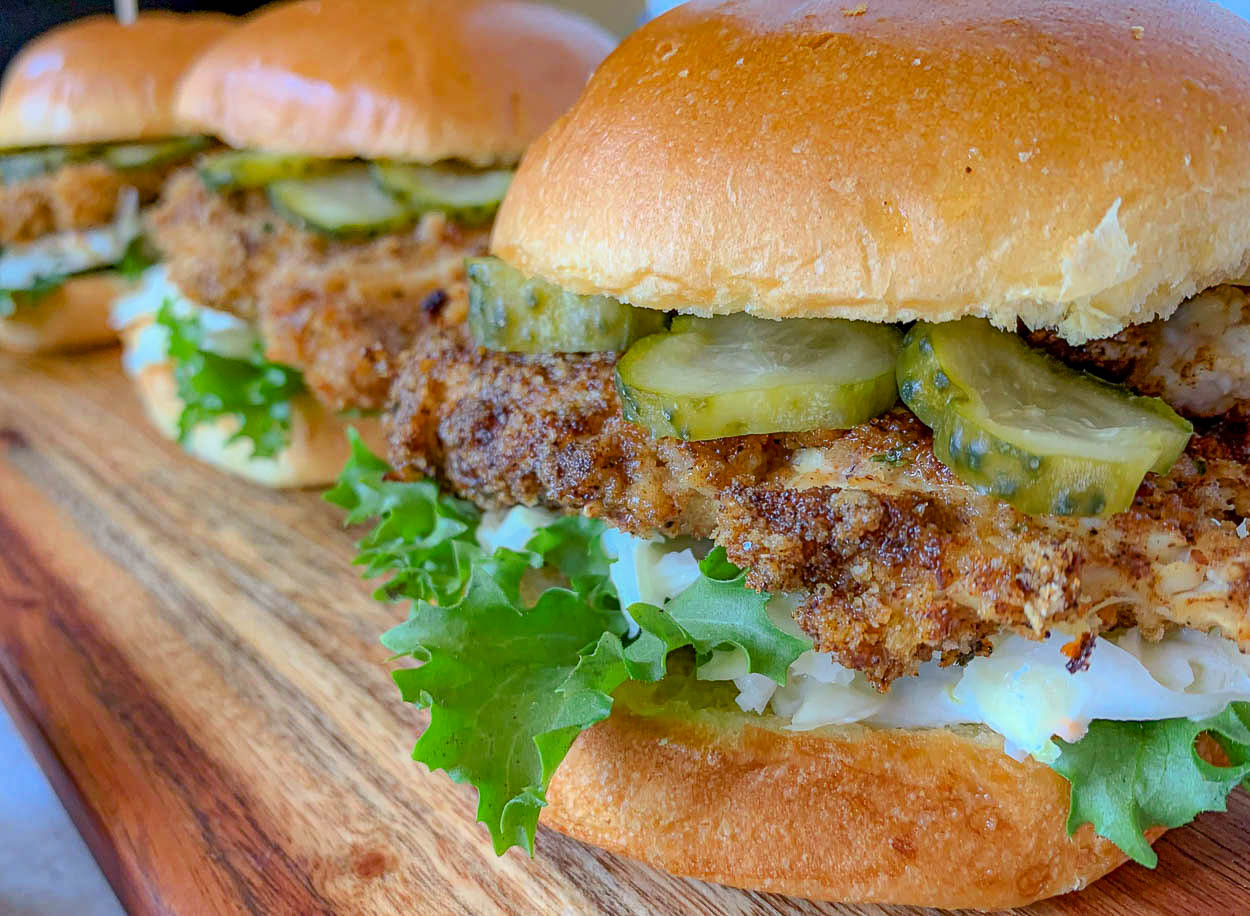 close up front photo of Baked Chicken Sandwiches