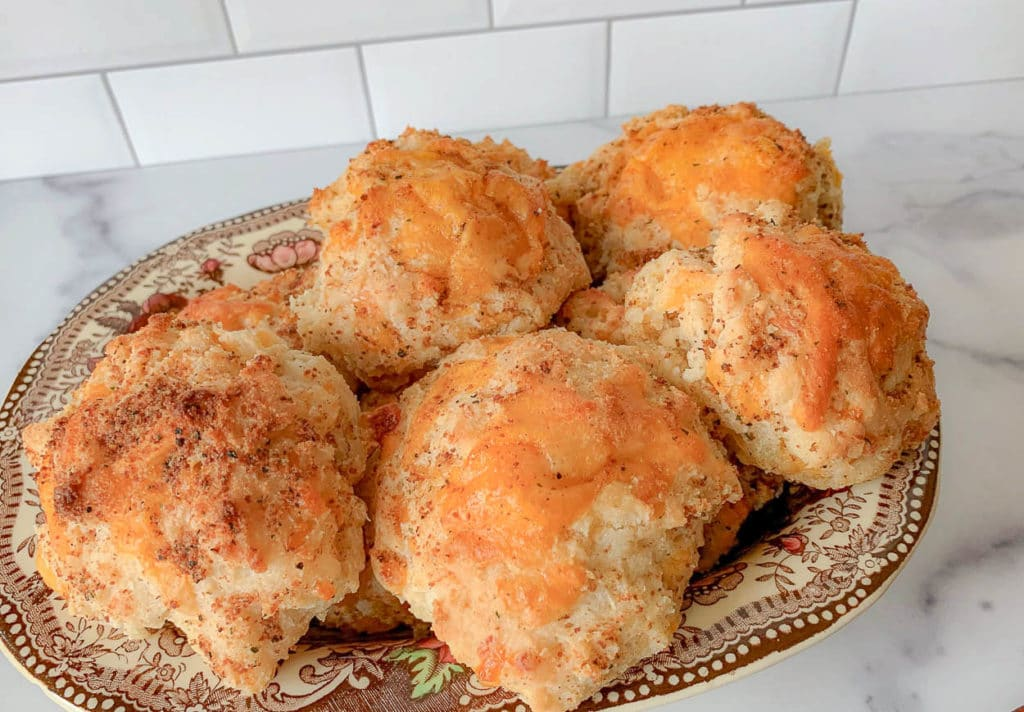 bowl of biscuits, with garlic and cheese