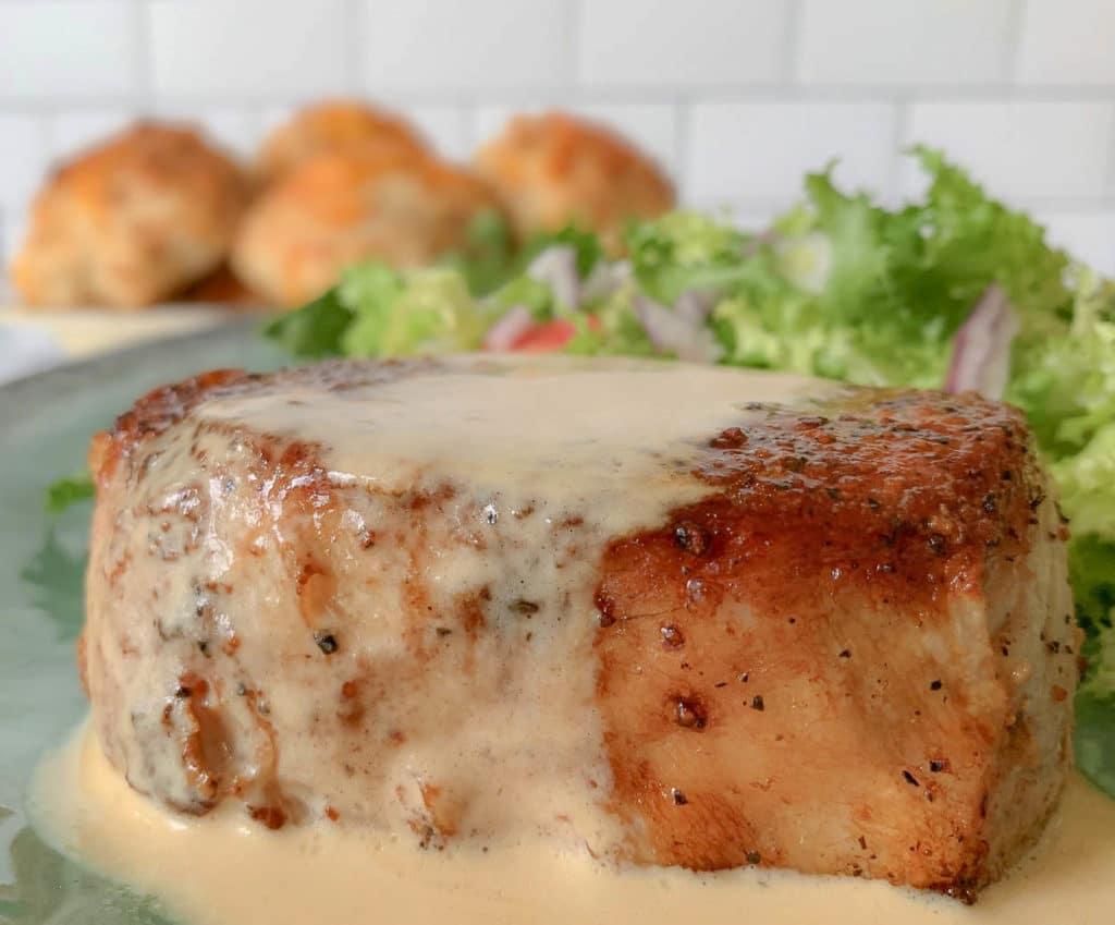 close up of Dijon Pork Chops