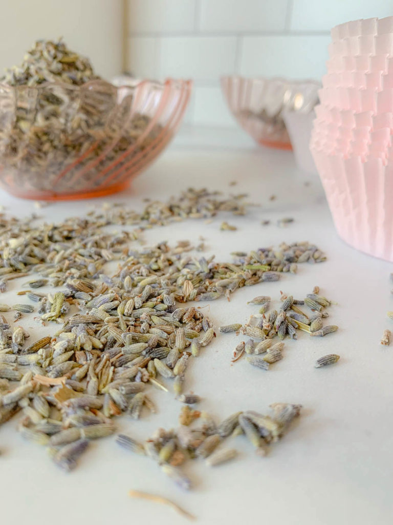 a pile of dried lavender flowers