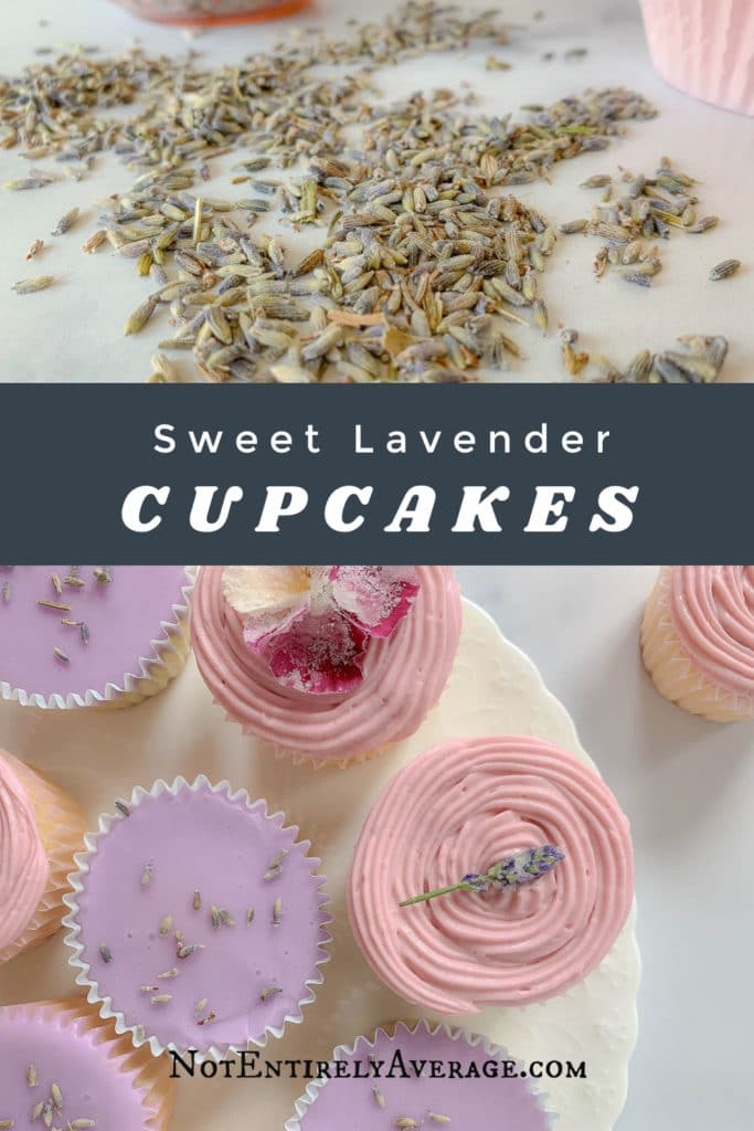 Pinterest pin image for sweet lavender cupcakes