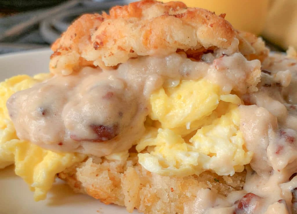 biscuits and eggs, with ham gravy