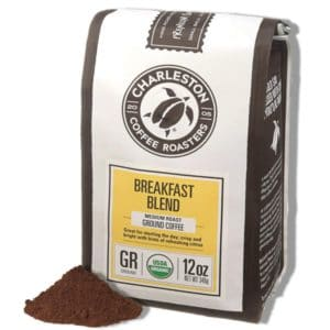 ground coffee in a bag