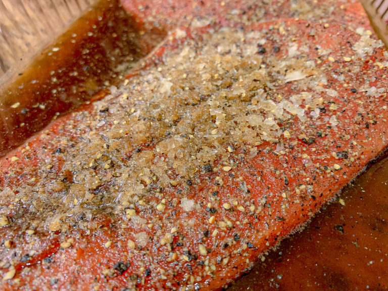 a filet of salmon with salt