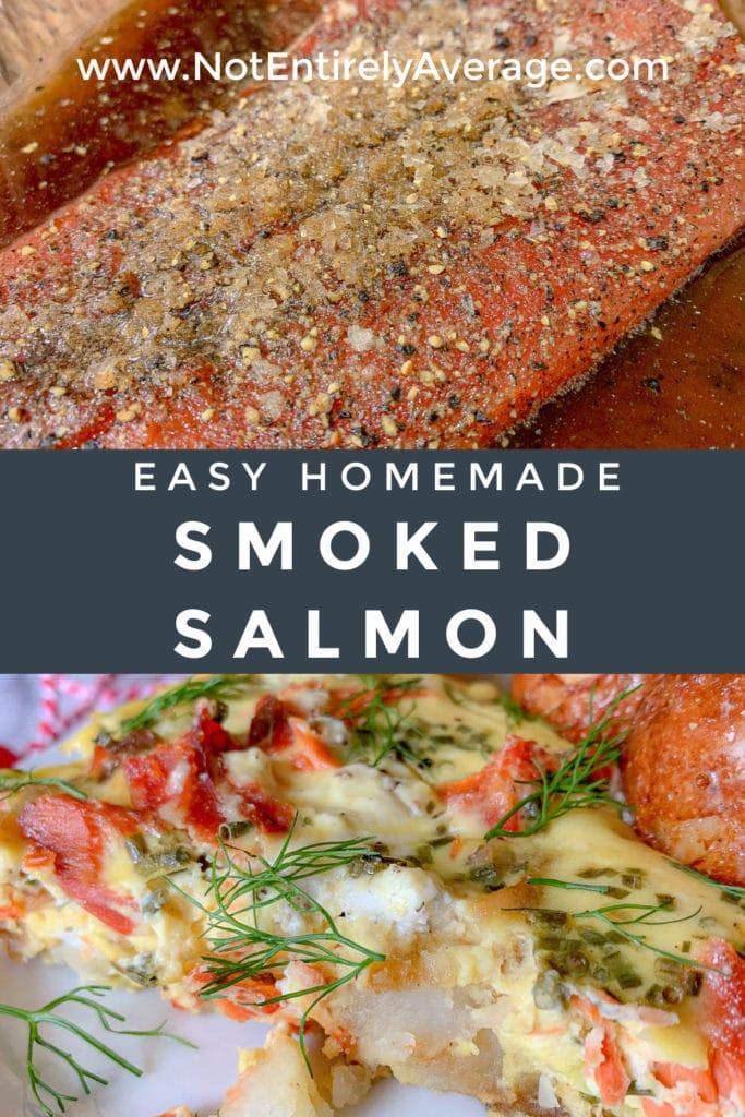 Pinterest pin image for Easy Homemade Smoked Salmon