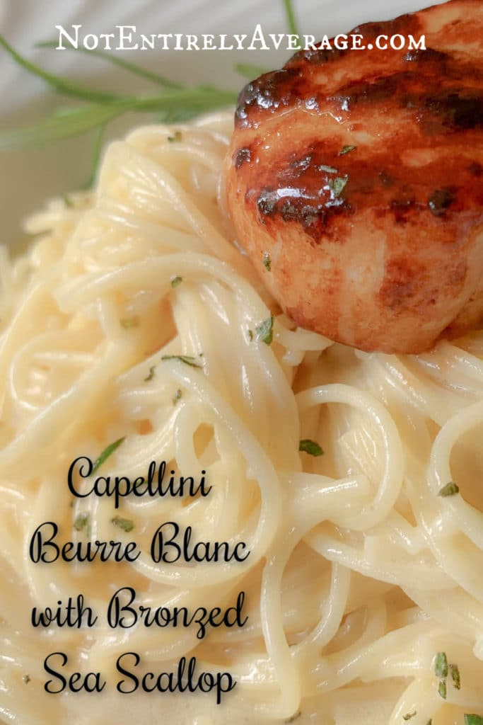 Pinterest pin image for Capellini Beurre Blanc