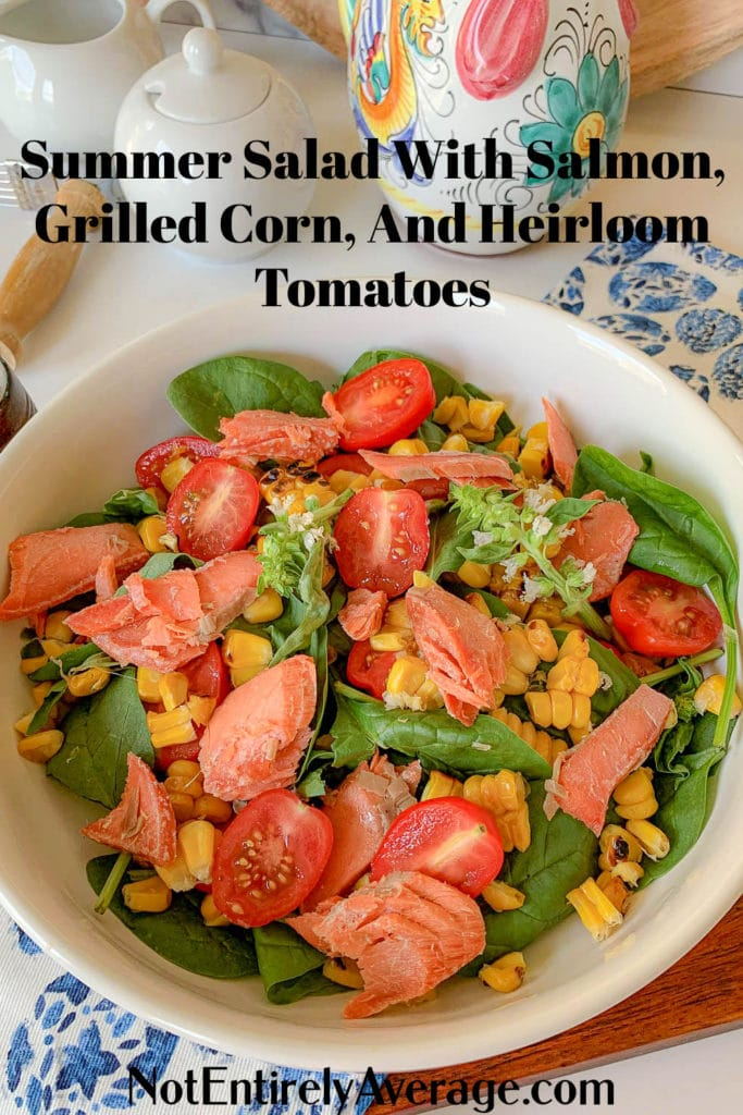 Pinterest pin image for smoked salmon salad with grilled corn and tomatoes