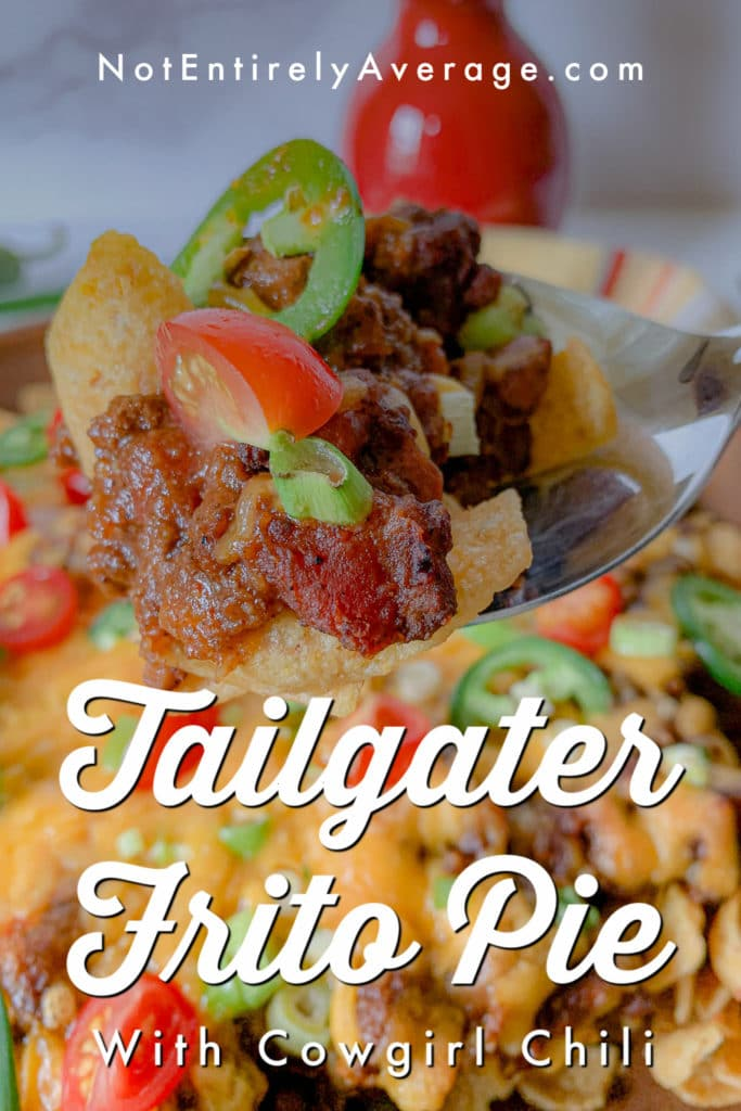 Pinterest pin image for Tailgater Frito Pie With Cowgirl Chili