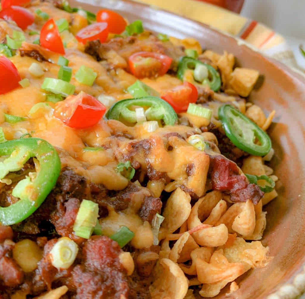 overhead photo of Frito Pie Casserole on a tray