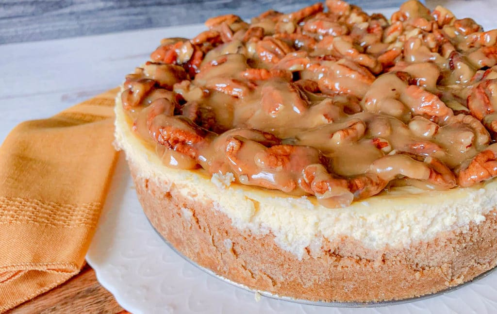 a whole Apple Bottom Bourbon Pecan Cheesecake