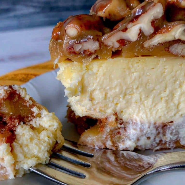 Pinterest pin image for Apple Bottom Bourbon Pecan Cheesecake