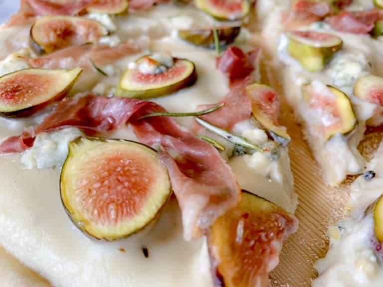 close up of A Fig Prosciutto And Gorgonzola Pizza