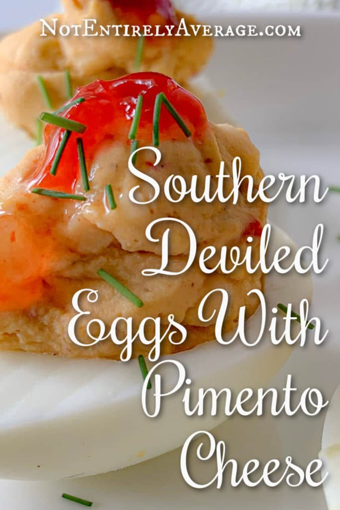 Pinterest pin image for Southern Deviled Eggs With Pimento Cheese