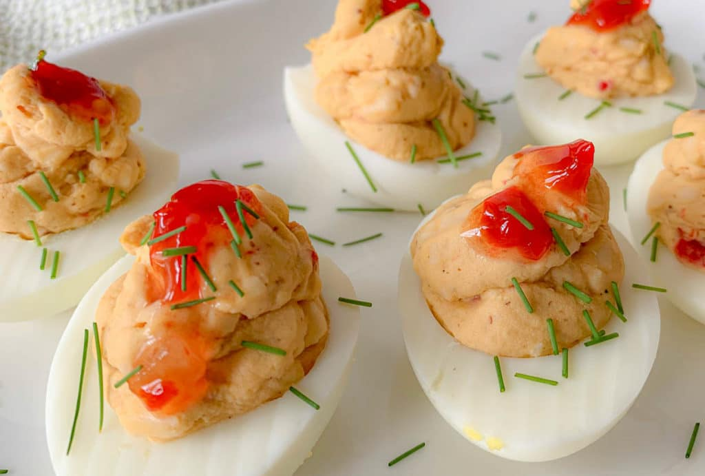 deviled eggs with pimento cheese