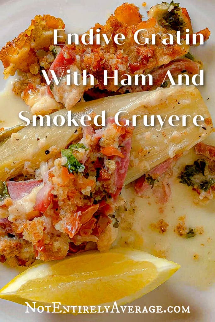 Pinterest pin image for An Endive And Smoked Ham Braise