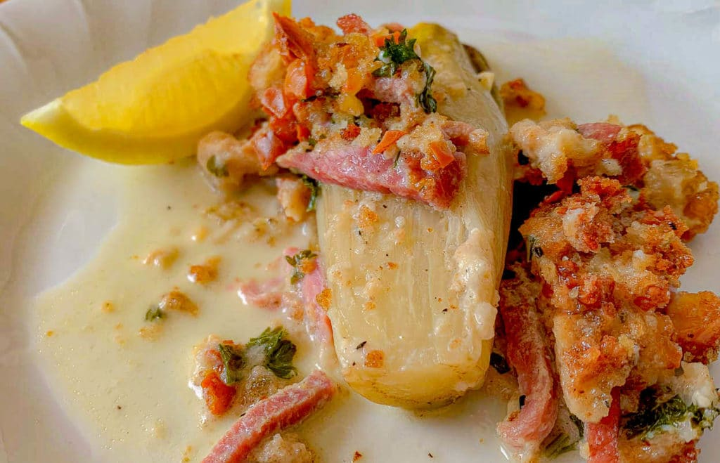 plate of Endive Gratin With Ham and Smoked Gruyere