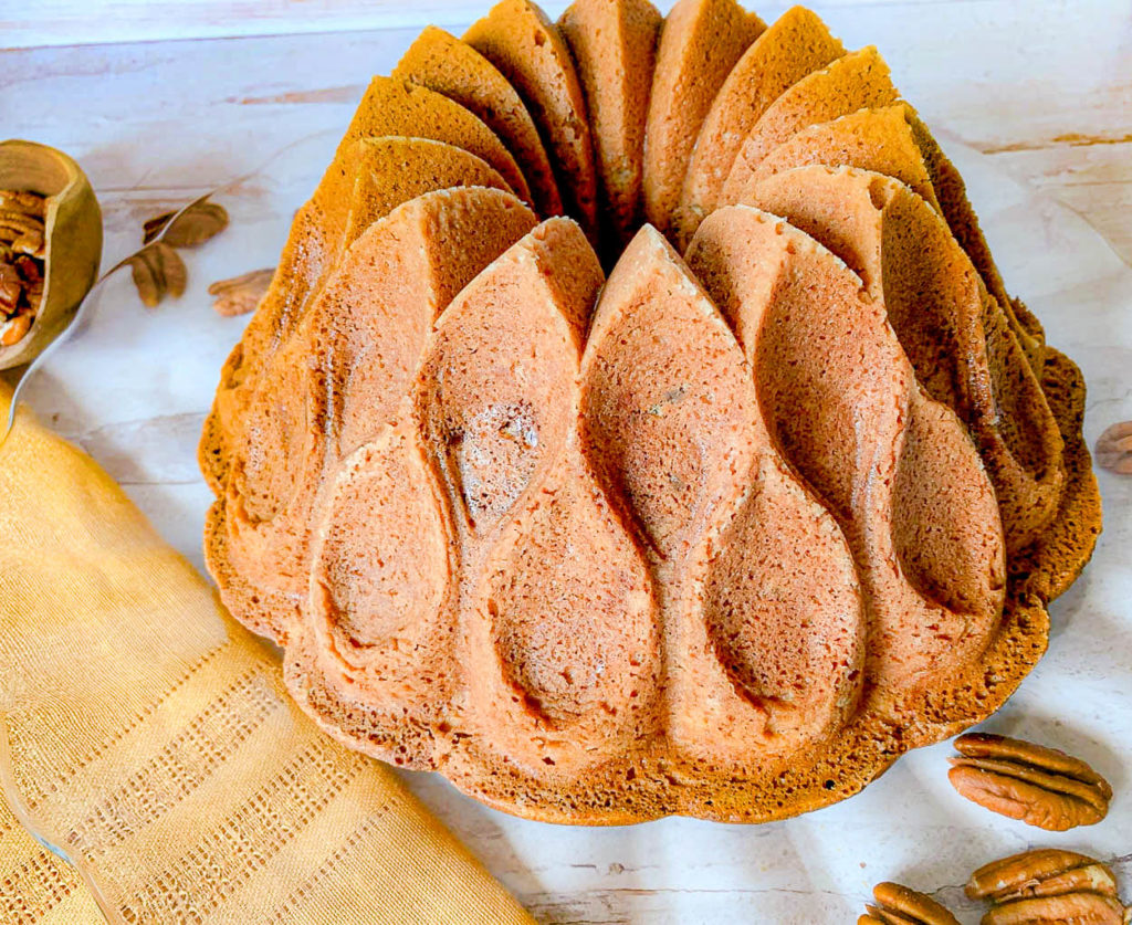 a cake, with pecans