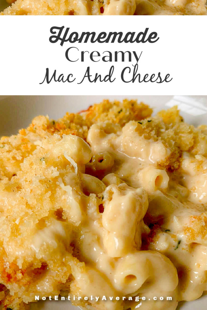 Pinterest pin image for Homemade Creamy Mac And Cheese