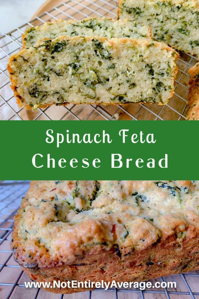 Pinterest pin image for Spinach Feta Cheese Bread