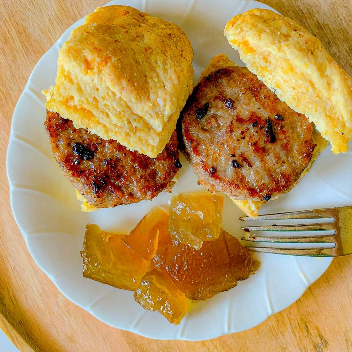 featured image for sausage on a biscuit with watermelon rind preserves