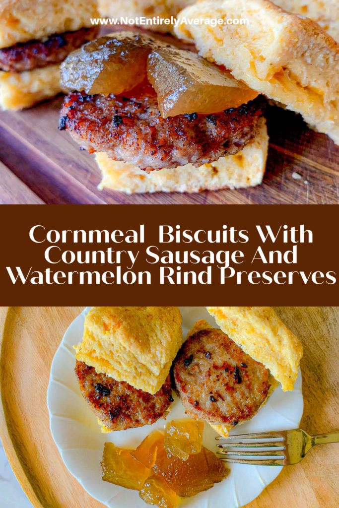 Pinterest pin image for sausage on a biscuit with watermelon rind preserves